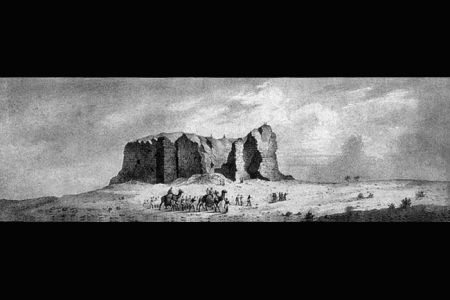 01. Vue d une ancienne construction a Kerma dans la province du nord, prise de l ouest. J. L. Tirpenne d apres le dessin original de Mr. Cailliaud .jpg